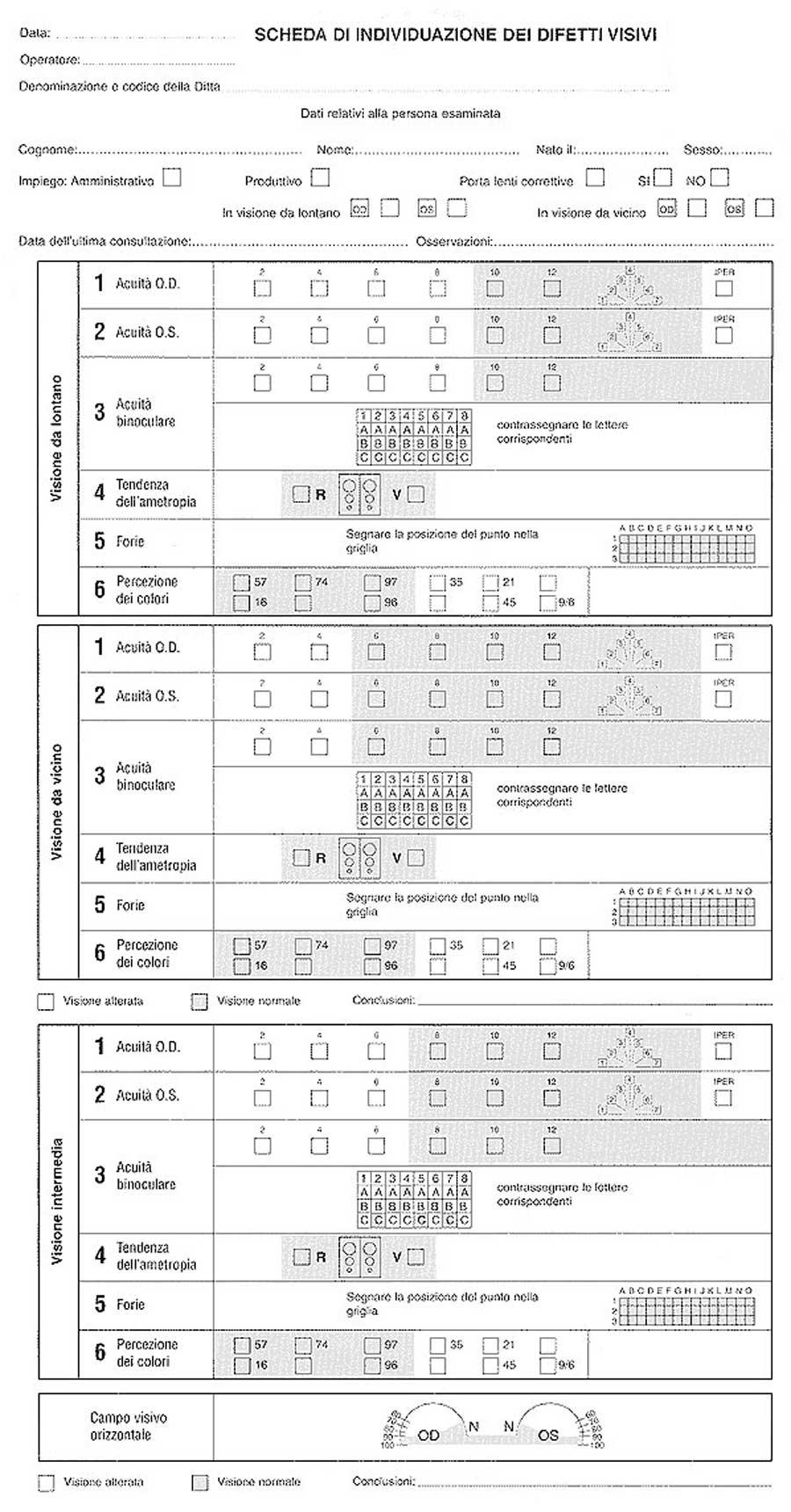 scheda individuazione difetti visivi visiotest