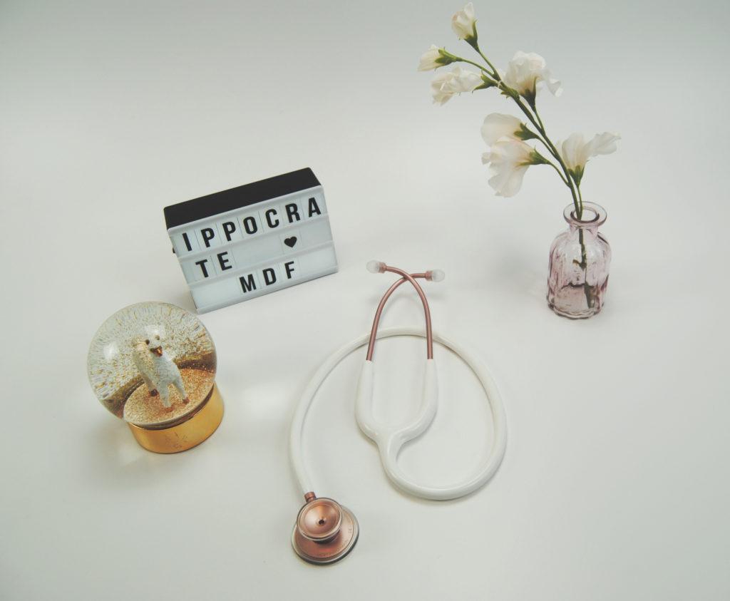 Stetoscopio mdf acoustica oro rosa e bianco